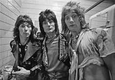 Rod, Ronnie & Mac with the Faces in a classic pose at Weeley