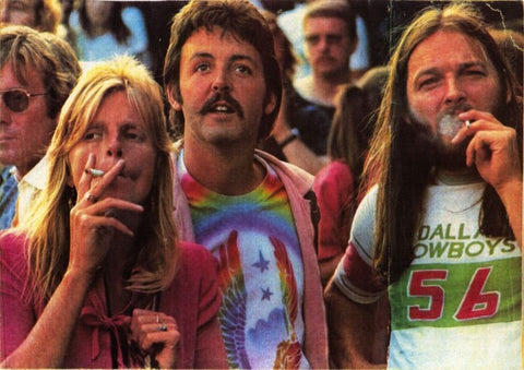 Paul, Linda and Dave Gilmour at Knebworth 1976