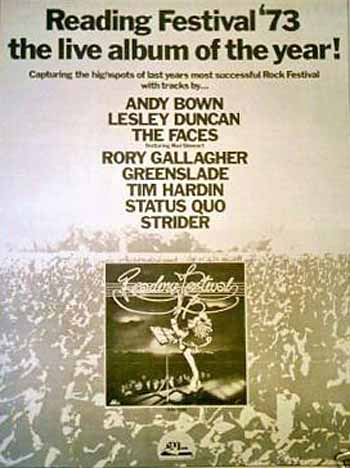 Newspaper ad for Reading festival album 1973