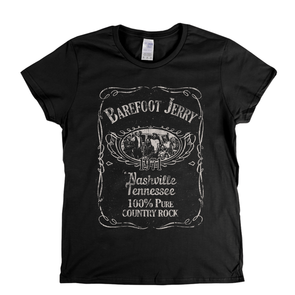 Barefoot Jerry Liquor Label Womens T-Shirt