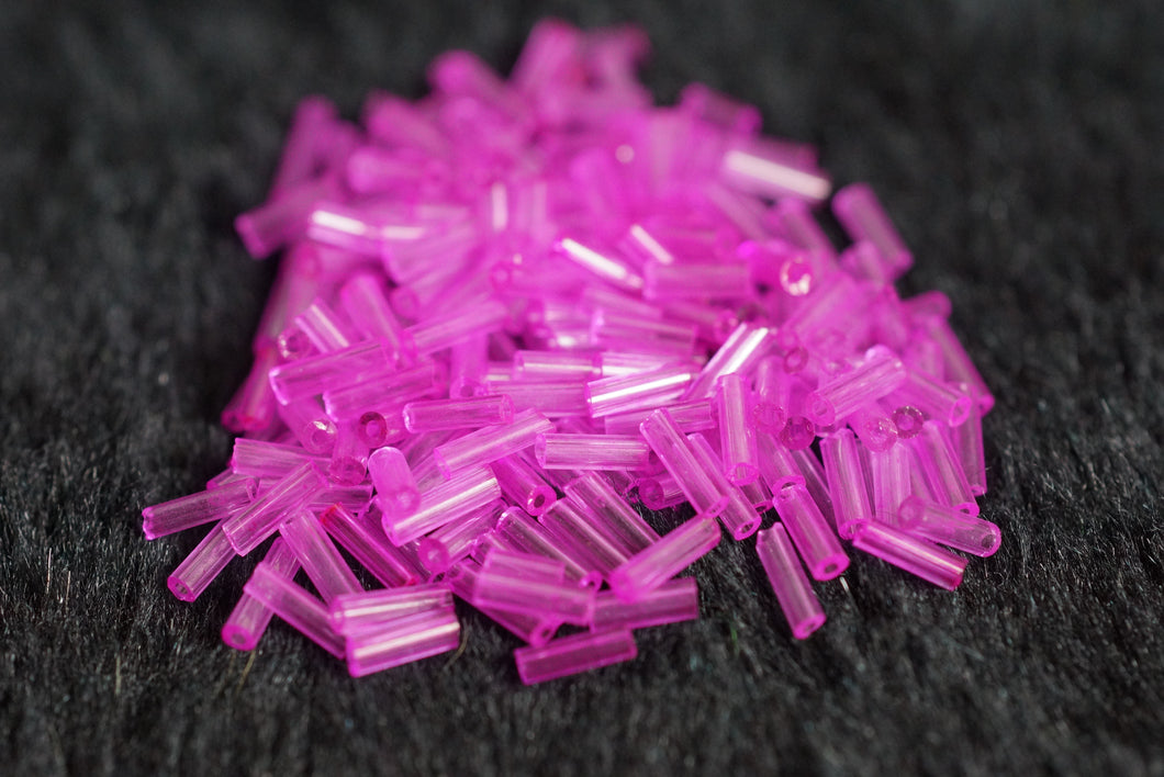 Hot Pink Clear Mini Cut Straw Glass Beads - Slimes & Floams - Small
