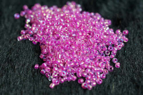 Hot Pink Clear Mini Circular Glass Beads - Slimes & Floams - Small