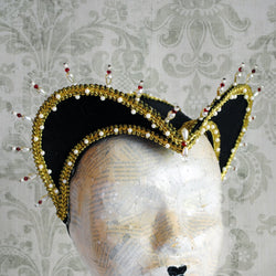 Black & Gold Tudors Inspired Historical Headpiece-By Bizarre Noir