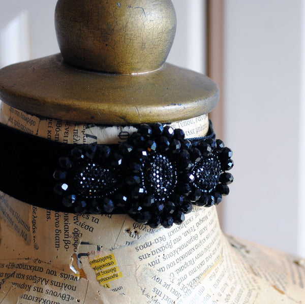 Black Velvet Gothic Choker with Crystals-By Bizarre Noir