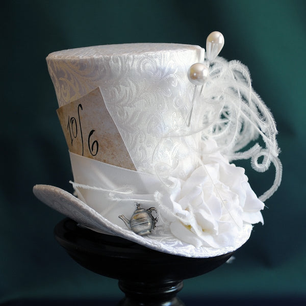 Bridal Mad Hatter Mini Top Hat-By Bizarre Noir