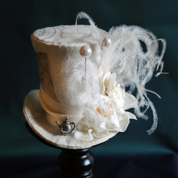 Bridal Mad Hatter Mini Top Hat in Ivory-By Bizarre Noir
