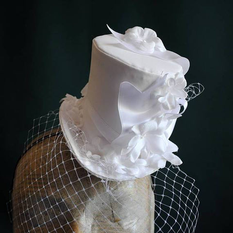 75c4fb375a6f4 Bridal Mini Top Hat with White Flowers and Veil-By Bizarre Noir