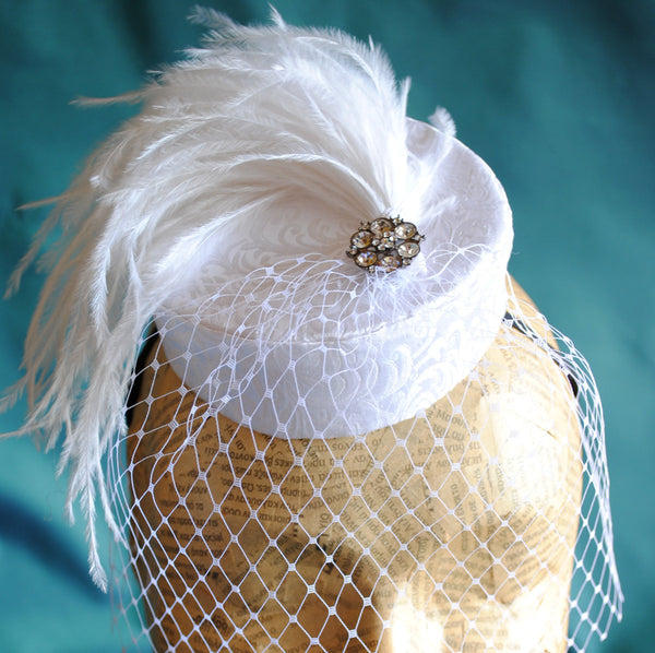 Bridal Pillbox Mini Hat with White Feathers and Veil-By Bizarre Noir