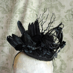 Gothic Crow Fascinator or The Raven-By Bizarre Noir