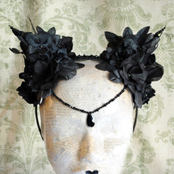 Gothic Dark Fairy Flower Headpiece-By Bizarre Noir