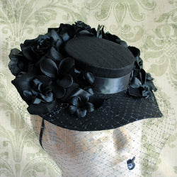 Gothic Lolita Victorian Mini Hat with Flowers-By Bizarre Noir