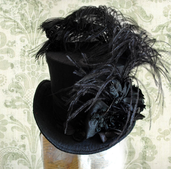 Gothic Mystery Victorian Mini Top Hat-By Bizarre Noir