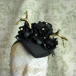 Gothic Teardrop Fascinator with Antlers and Veil-By Bizarre Noir