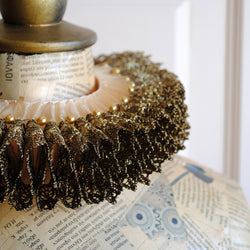Historical Elizabethan Ruff Collar with Golden Lace and Pearls-By Bizarre Noir