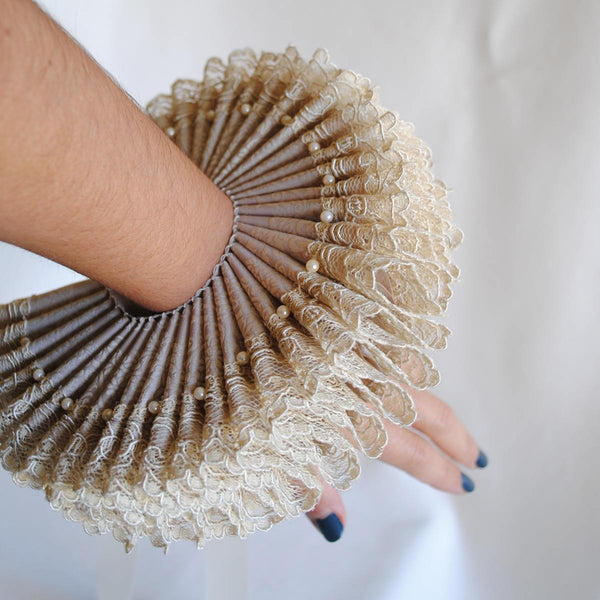 Historical Elizabethan Ruffled Cuffs with Lace-By Bizarre Noir