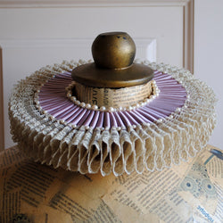 Lilac Historical Elizabethan Ruff Collar with Lace & Pearls-By Bizarre Noir