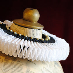 Majestic Black and White Elizabethan Ruff Collar-By Bizarre Noir