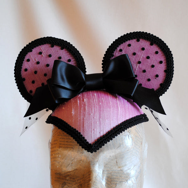 Miss Pink Mouse Burlesque Minnie Mouse Ears Headpiece-By Bizarre Noir