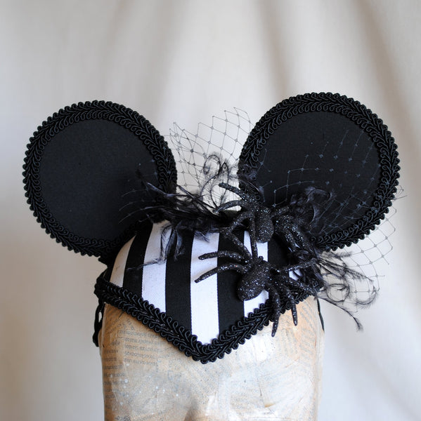 Miss Spider Mouse Striped Gothic Halloween Ears Hat-By Bizarre Noir