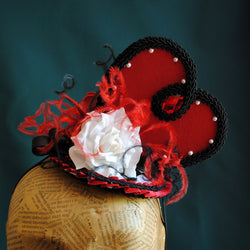 Queen of Hearts Cosplay Costume Fascinator-By Bizarre Noir