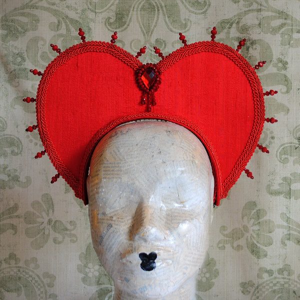 Queen of Hearts Headpiece in Red or Black-By Bizarre Noir