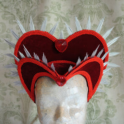 Queen of Hearts Red Velvet Costume Headdress-By Bizarre Noir