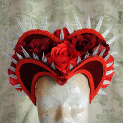 Queen of Hearts Red Velvet Costume Headdress with Roses-By Bizarre Noir