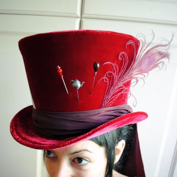 Red Mad Hatter Top Hat-By Bizarre Noir