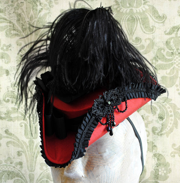 Rococo Ball Mini Tricorn Hat in Red and Black-By Bizarre Noir