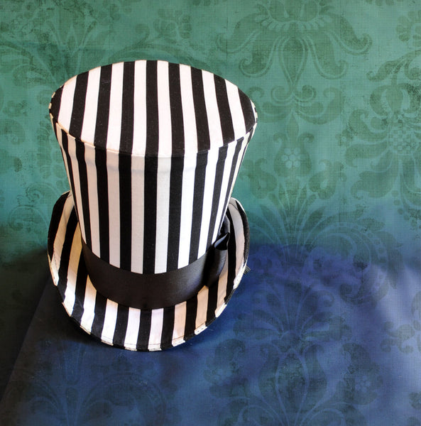Striped Gothic Lady's Perching Top Hat-By Bizarre Noir