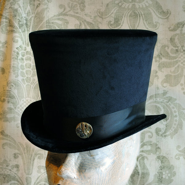 The Baron,Gothic Black Velvet Top Hat with Vintage Watch Movement-By Bizarre Noir