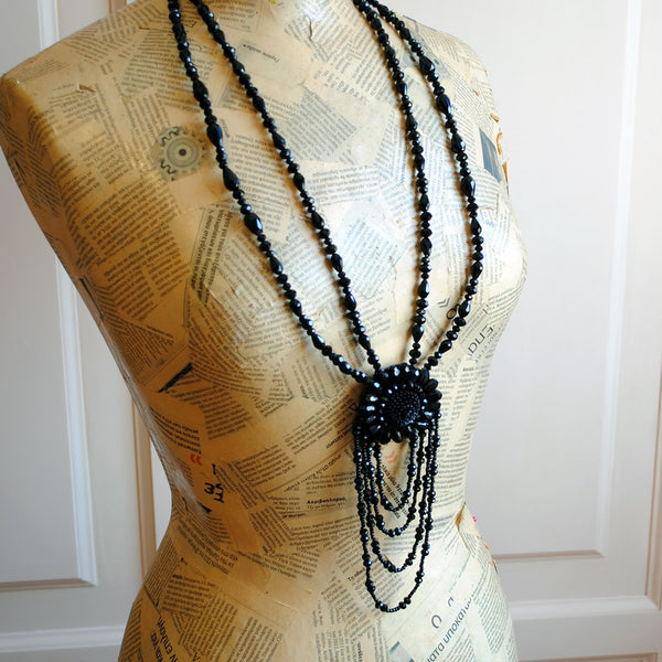 The Great Gatsby, Black Crystal Statement Necklace-By Bizarre Noir