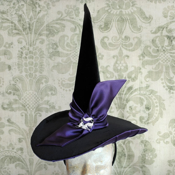 The Hocus Pocus Halloween Witch Hat with Bow-By Bizarre Noir