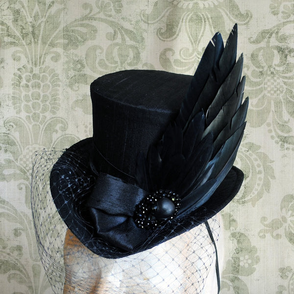 The Nevermore, Gothic Mini Top Hat with Faux Raven Wing-By Bizarre Noir