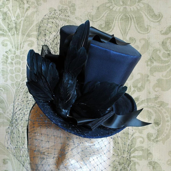 The Once Upon a Midnight Dreary, Midnight Blue Evening Mini Top Hat with Flying Raven-By Bizarre Noir