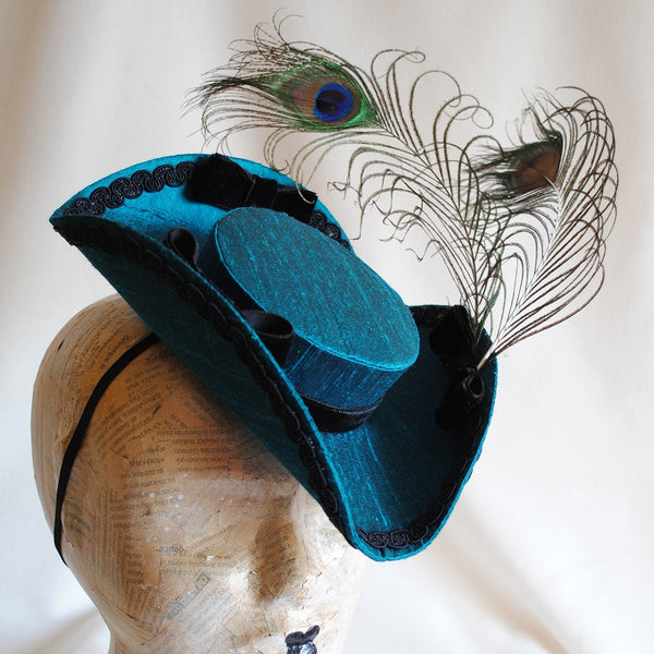 The Peacock, Baroque Mini Tricorn Hat in Teal-By Bizarre Noir