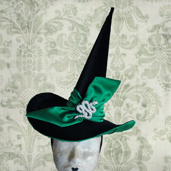 The Slytherin Witch Hat with Green Bow & Crystal Snake-By Bizarre Noir