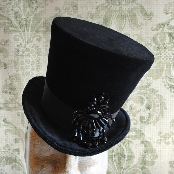 The Tease, Burlesque Lady's Top Hat with Black Crystals-By Bizarre Noir