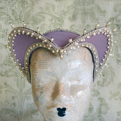 Tudors Inspired Historical Renaissance Headdress in Lilac-By Bizarre Noir
