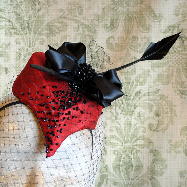 Valentine's Day Heart Mini Hat with Crystals and Veil-By Bizarre Noir