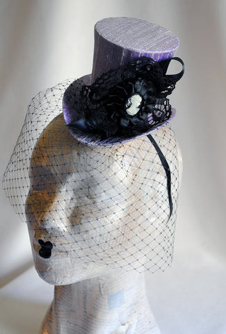 9ce27764 ... Victorian Mini Top Hat with Cameo and Veil-By Bizarre Noir ...