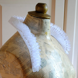 White Queen Elizabethan Standing Ruff Collar with Crystals-By Bizarre Noir