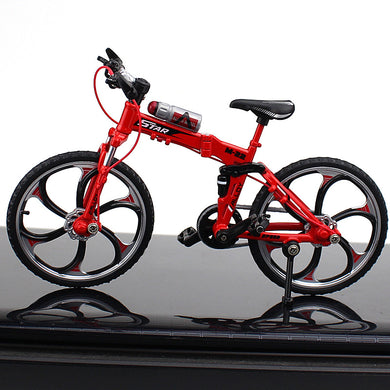Foldable Alloy Mini Mountain Bike and Bottle Toy Die-cast MTB Finger Racing Bicycle Model