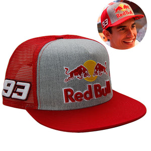 New Red Bull Marc Marquez 93  MotoGP Snapback Baseball Cap Honda Trucker Cachucha Hat Red