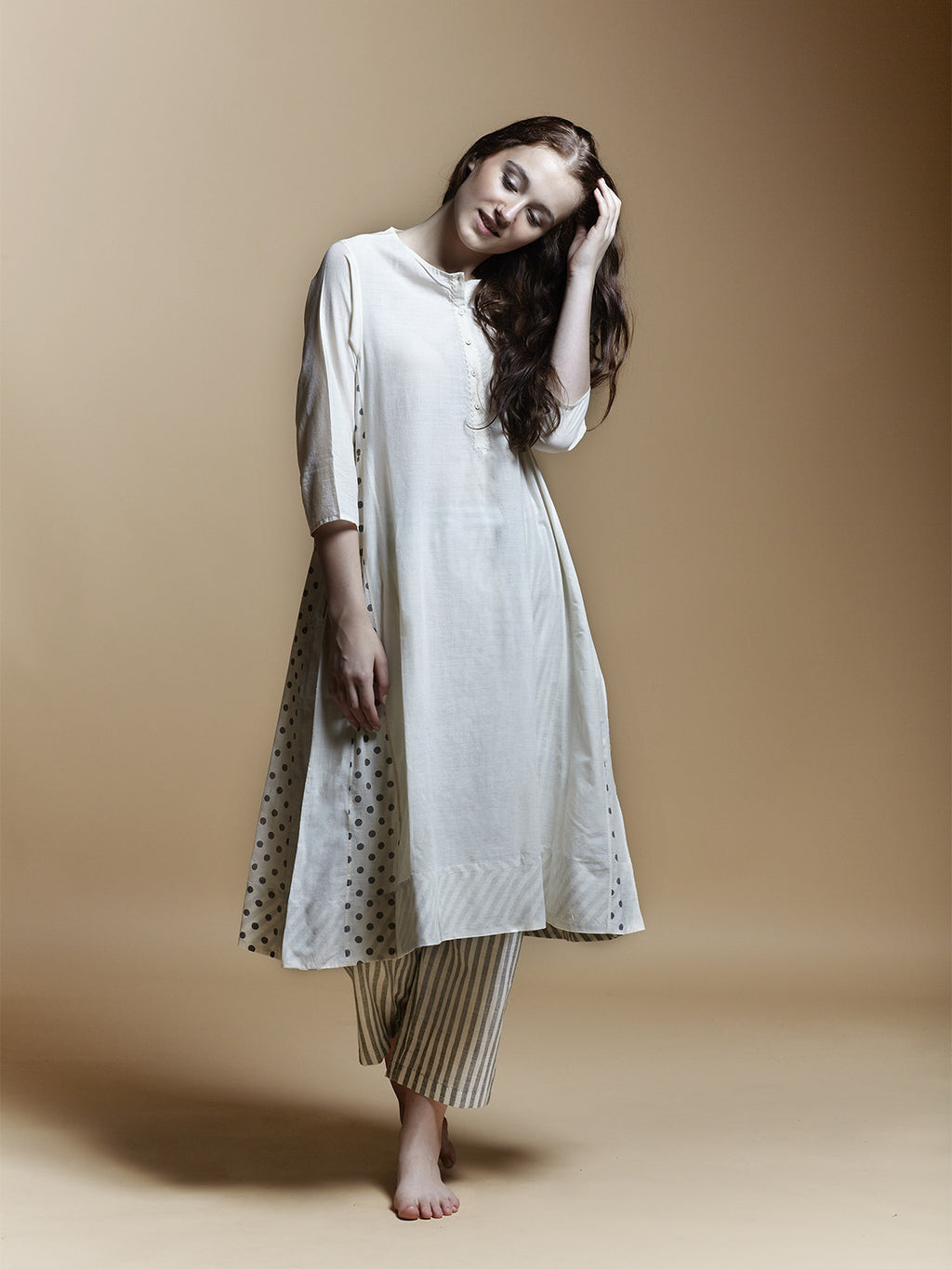 Dot Panel Midi Dress - BunaStudio