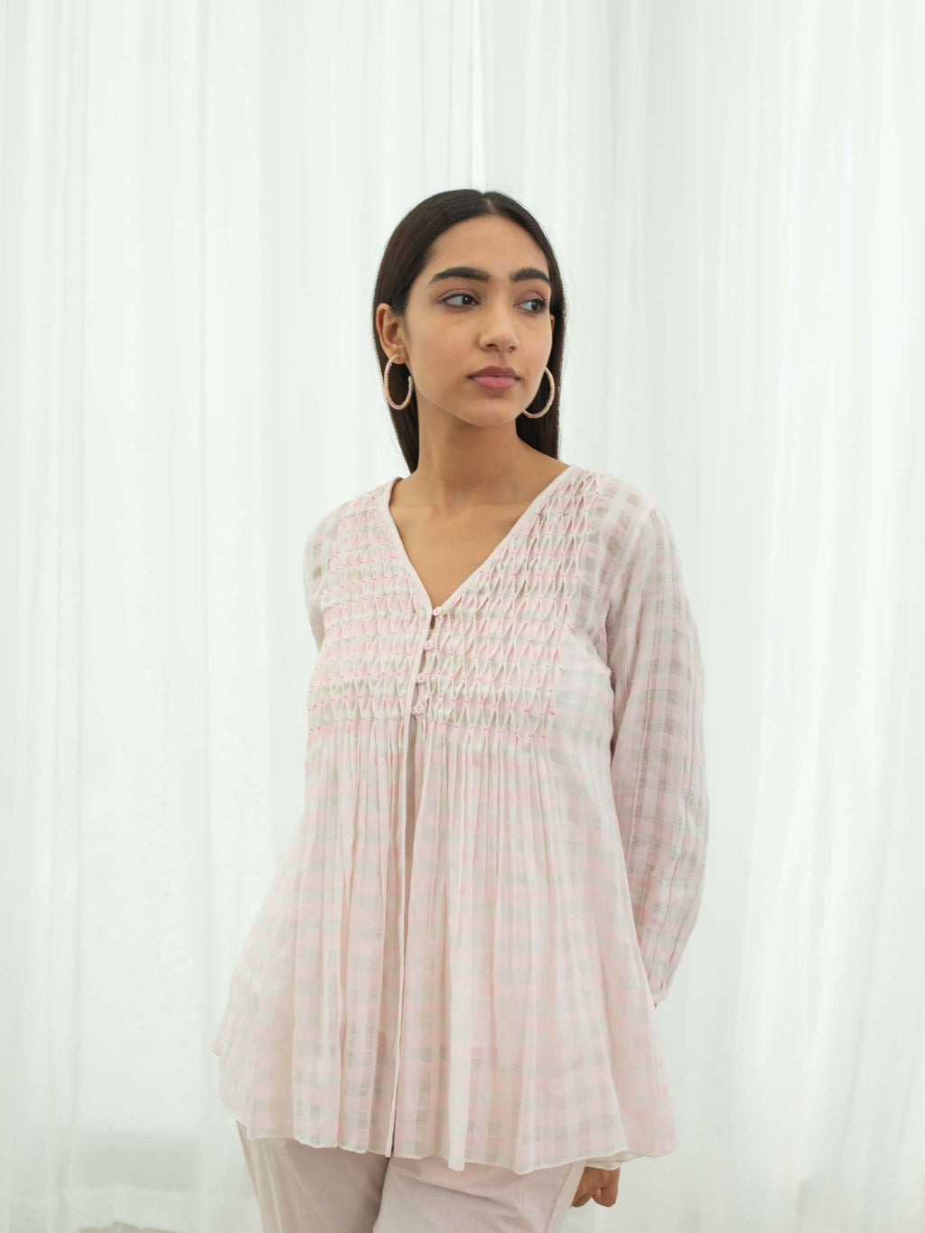 Pink Gingham Smock Top