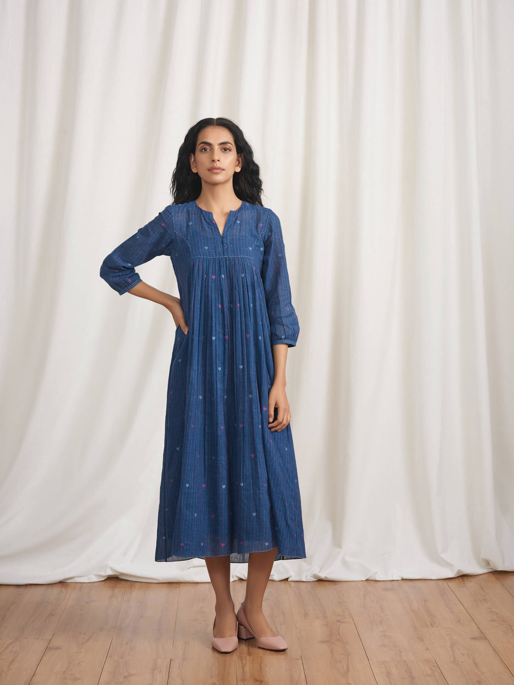 Indigo Skies Gathered Dress - BunaStudio