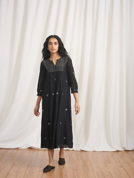 Night Jasmine Gathered Dress - BunaStudio