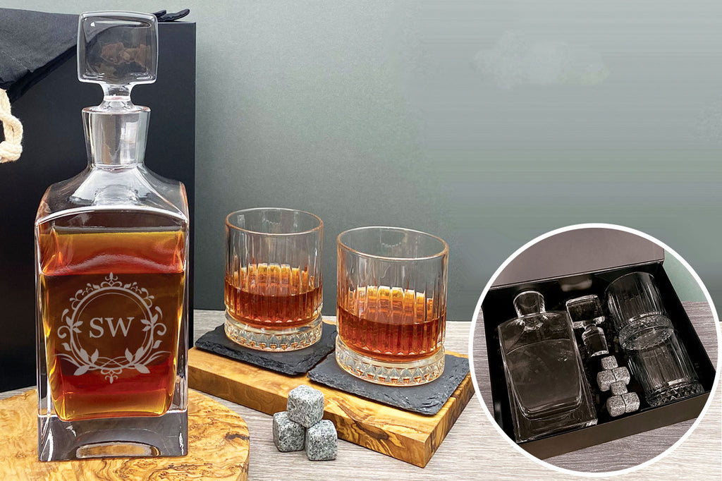Personalised Whiskey Crystal Decanter Gift Set with Stones