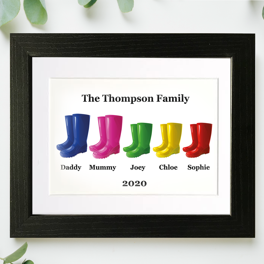 Family Welly Boots Framed Mounted Print